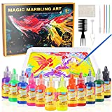 Titoclar Arts & Crafts for Kids Ages 6-12, Water Marbling Paint Kit 12 Colors (16ml Each), for Girls and Boys (Paint on Water)