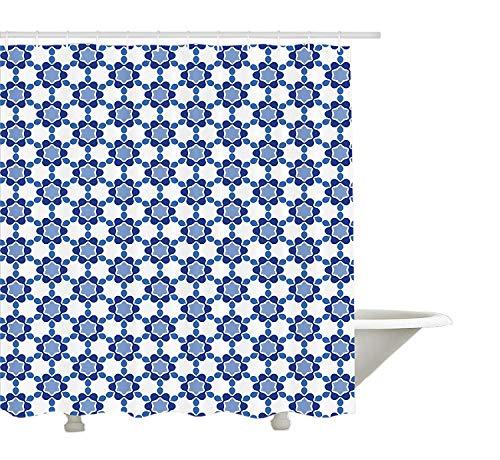 Yeuss Marokkanischer Duschvorhang, Mosaikbild aus osmanischen orientalischen Fliesen,sechseckige Wabenform,Badezimmer-Dekorset aus Stoff mit Haken,Weißtürkis und Dunkelblau