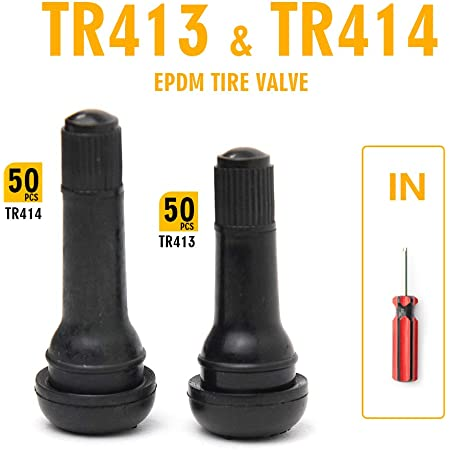 100 x TR414 Snap In Rubber Tubeless Tyre Valves Genuine Schrader