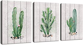 Green Wall Art Cactus Canvas Pictures Succulent Plant Painting 3 Piece Simple Life Canvas Art Prints Contemporary Artwork for Bathroom Kitchen Office Wall Decor Home Decoration 12