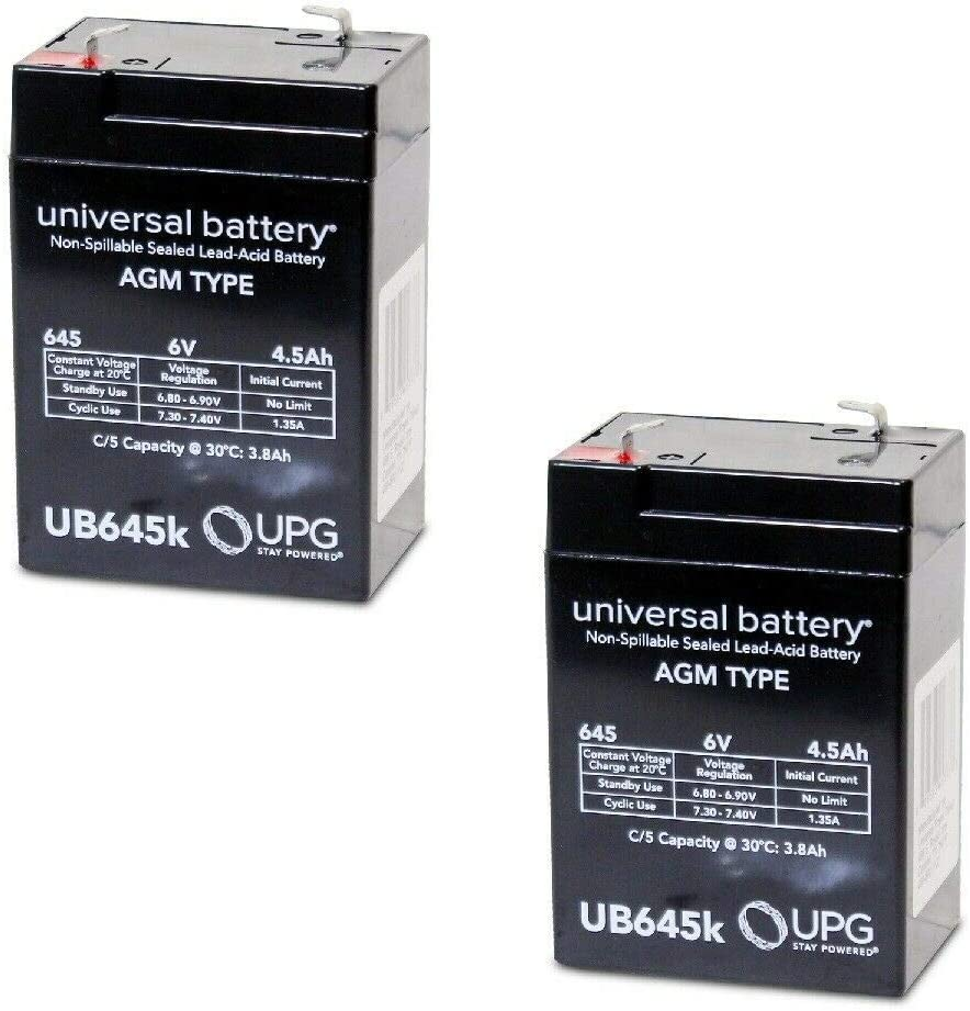 2 PACK Louisville-Jefferson County Mall UPG UB645 Some reservation 6V 4.5AH C SLA Battery Replacement Sonnenschein
