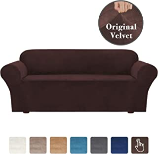 Elegant Velvet Plush Sofa Cover Stretch Furniture Protector, Stretch Slipcover Sofa Covers for 4 Seat Couch Slipcover, Form Fit Stretch Super Soft Machine Washable, Brown 4 Seater Sofa Size