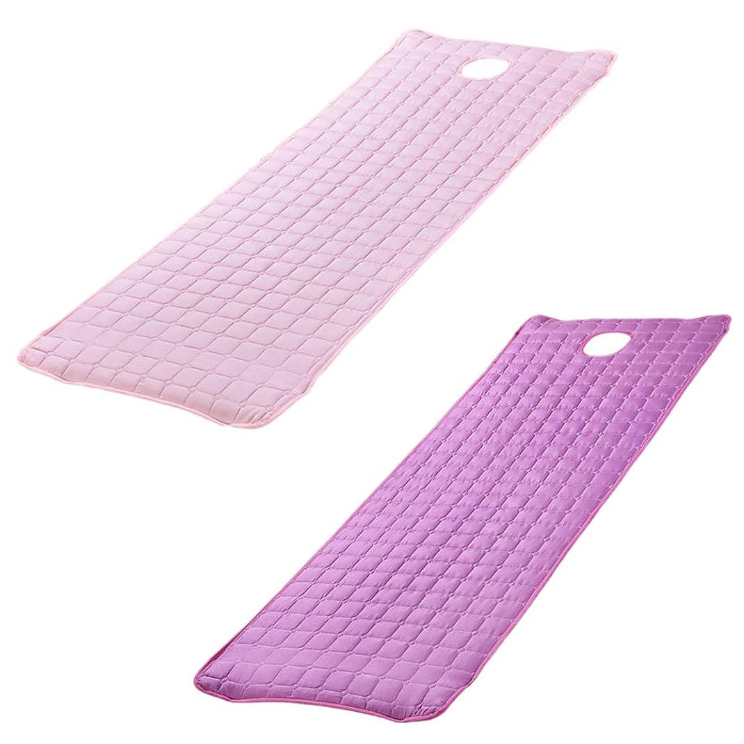 増幅診療所銀行ベッドカバー ベッドシーツ マットレス フェイスホール付 美容 サロン 2個 - 180x60cm パープル/ピンク