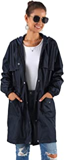 Women Rain Jacket Waterproof Hooded Lightweight Raincoat Active Outdoor Long Windbreaker S-XXL