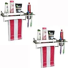 Plantex Stainless Steel 3 in 1 Multipurpose Bathroom Shelf/Rack/Towel Hanger/Tumbler Holder/Bathroom Accessories (15 x 6 Inches) - Pack of 2