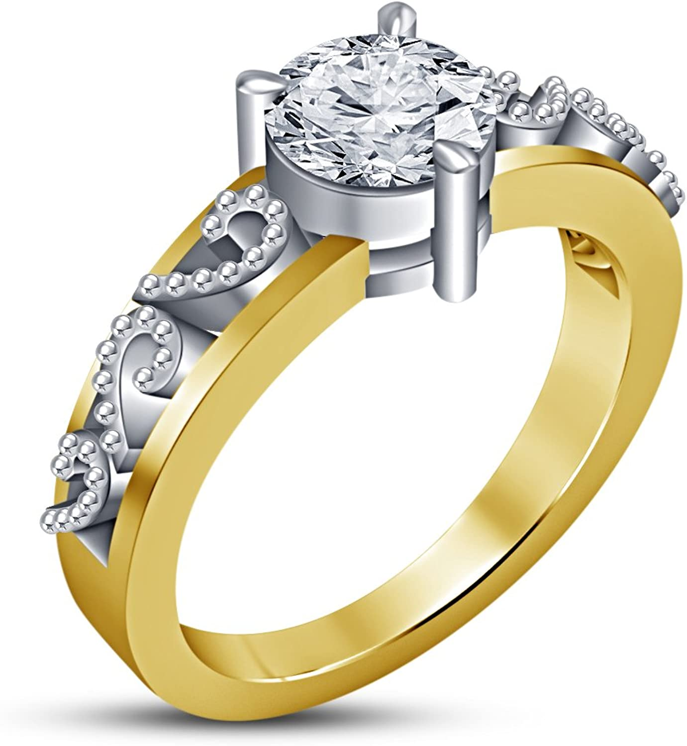 Vorra Fashion Ladies Solitaire Anniversary Ring With Brilliant Round Cut White Cubic Zirconia Jewelry