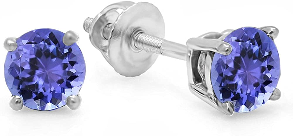 Dazzlingrock Collection 18K 5mm each Round Cut Ladies Solitaire Stud Earrings, White Gold