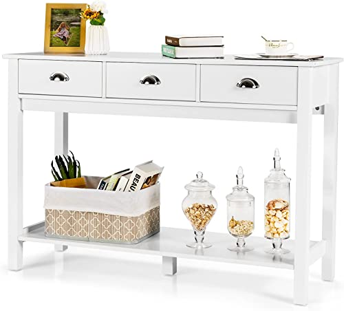 wholesale Giantex Console Table with 3 Drawers, Tall discount Entryway Table with 2 Tier Storage Shelves, Narrow Accent Table for Hallway Living Room, Modern Sofa Entry Table lowest (White) online