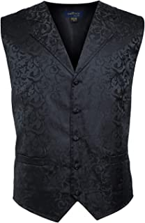 Men's Suit Vest Jacquard Fabric Vest for Men Business Vest Dress Vest Waistcoat 5 Button Vest