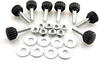 8 Set M6x20 Thumb Screw Plastic Round Shape Head Threaded Knurled Grip Knobs Clamping Screw with Nut Washer
