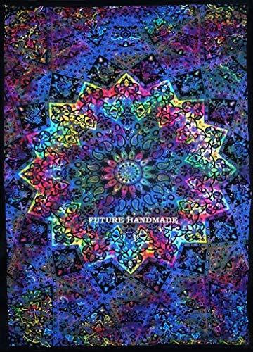 Future Handmade - Tapiz bohemio y psicodélico de pared con un diseño de mandala de estilo indio de la luna y del sol para colgar de la pared