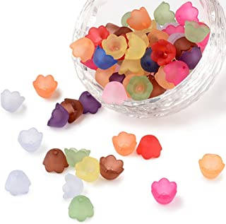 Pandahall 100pcs Mixed Frosted Acrylic Flower Bead Caps Spacer Beads Caps for Jewelry Making 10x6mm