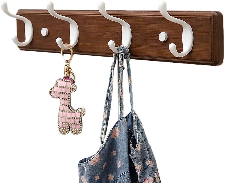 Coat Rack Clothes Hook Shelf Wall Hanging Coat Rack Coat Hook Wall Clothes Hook (color   Brown, Size   4 Hook)
