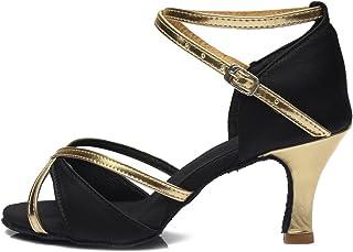 YKXLM Femme&Fille Chaussons de Danse Latine Standard Salle de Bal Chaussures,Maquette FR805