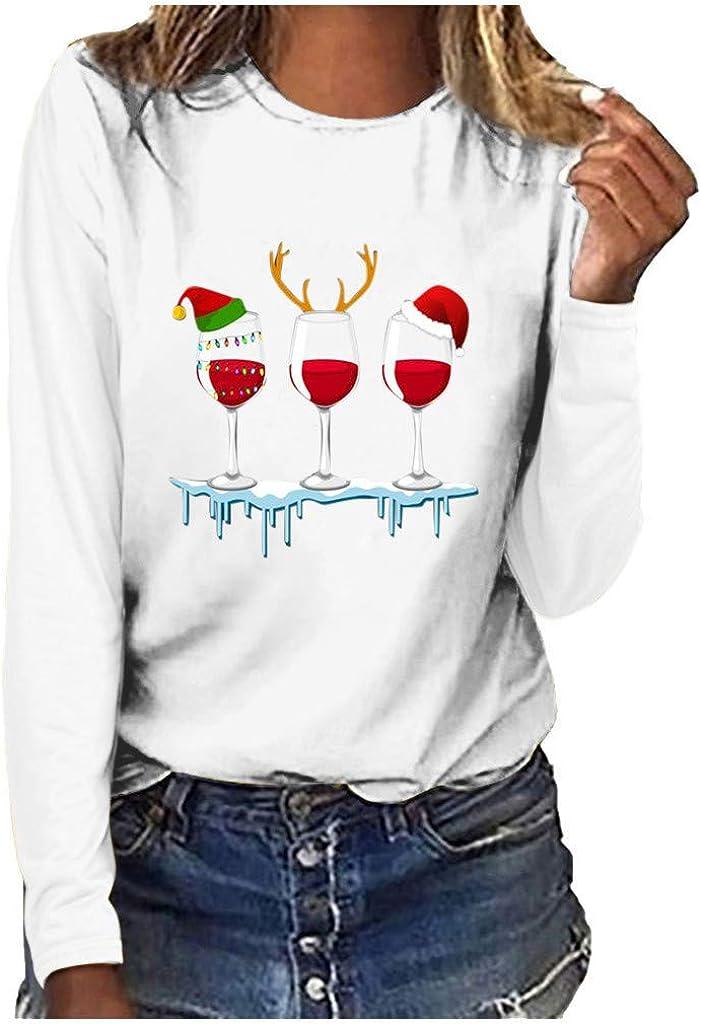 Tops for Teen Girls , women's Casual Christmas Wine Printed Long Sleeve Crewneck Sweatshirts Pullover Shirt