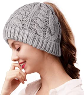 camptrace Winter Hats for Women Cable Knit with Ponytail Hole Outdoor Runner Messy Bun Beanie Cap