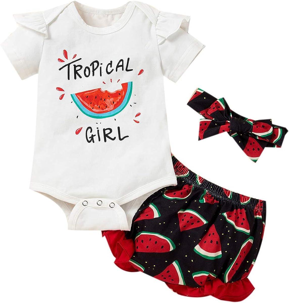 Toddler Baby Girls Summer Clothes Watermelon Top + Linen Shorts with Belt Cute Summer Short Set