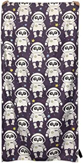 Panda Bear Astronaut Upgrade Microfiber Premium Beach Towel, Quick Dry Travel Large Purple Beach Towels, Sandless Lightweight Highly Absorbent Super Soft, Starry Sky Space Funny Personalized Print