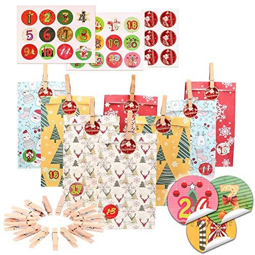 24 sets adventskalender doos kerstpapier tassen kerstzegel stickers snoep zak levensmiddelverpakking behandelen tassen met stickers clips touwpakket