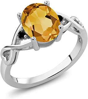 1.56 Ct Oval Yellow Citrine Black Diamond 925 Sterling Silver Ring