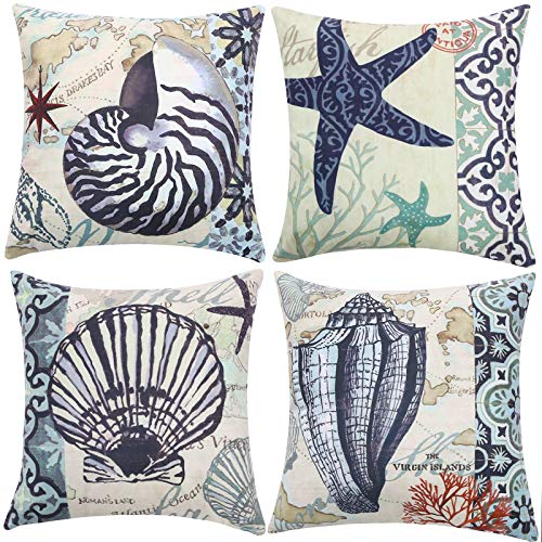 STAREDGE Nautical Conch Decorative Throw Pillow Covers 18x18, Set of 4 Ocean Themed Beach Starfish Shell Printed Cushion Covers for Patio Couch Sofa