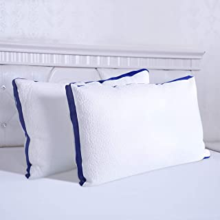 HOMEIDEAS 100% Cotton Bed Pillows for Sleeping - Knitted Fabric Cover & Polyester Filling, Breathable, Comfortable - Good for Side and Back Sleeper (Standard, 2 Pack)