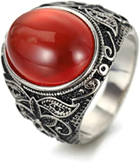 Aooaz Stainless Steel Ring Band Vintage Flower Pattern Ring with Oval Stone Hip Hop Rings Size 7-12