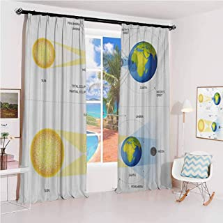 Educational Pleated curtains with blackout and lining Solar and Lunar Eclipse Planet Earth Sun Moon Orbit Astronomy Science Used for Living room bedroom with sliding door patio door W100 x L84 Inch B