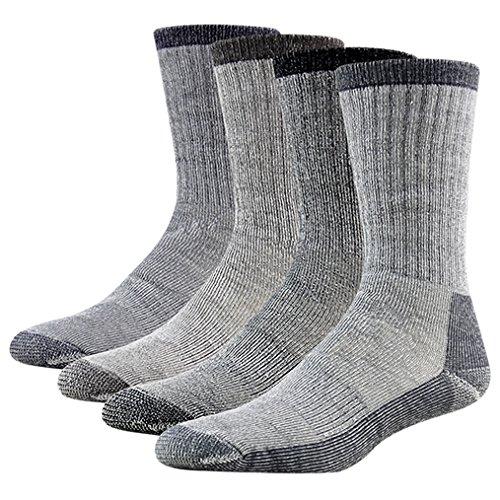 Mens Hiking Socks, RTZAT Full Cushion Merino Wool Extreme Warm Soft Winter Outdoor Crew Cut Socks for Men and Women Large, 1 Black, 1 Grey, 1 Navy Blue, 1 Brown