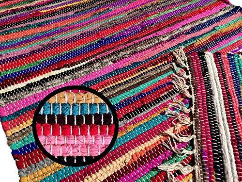 Fleckerlteppich Handgewebt 60 x 40 cm Kelim Beidseitig nutzbar ca1800g/m Flickenteppich Fleckerlteppich Fussmatte