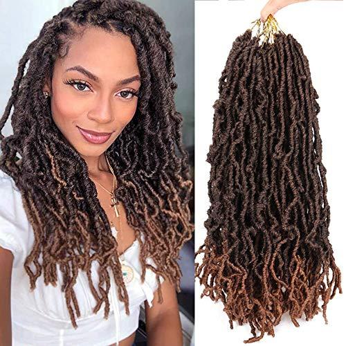 7 Packs Nu Soft Locs Crochet Braids 18inch Goddess Faux Locs Crochet Hair Soft Gypsy Loc Crochet Curly Wavy Twist Synthetic Braiding Hair African Roots Dreadlocks Hair Extensions (18 roots,T1B/30)