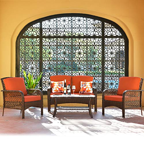 ovios Pieces Outdoor Patio Furniture Sets Rattan Chair Wicker Set with Cushions,Table,Outdoor Indoor Backyard Porch Garden Poolside Balcony Furniture (Brown-Orange Red)