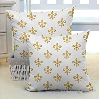 Fleur De Lis Square Throw Pillow Covers Set Vintage Stylized European Lily Aristocratic Dignified Majesty Artful Print Soft Soild Decorative for Bedroom Living Room Sofa Home Decor 2PCS -