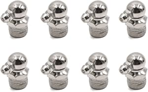 sourcing map 8pcs 1 4 quot  Degree Angle Nickel Plated Grease Nipple Fitting for Car