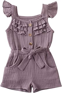 Vohawsa Baby Girls Cute Ruffle Sleeveless/Long Sleeve Romper Bodysuit One Piece Jumpsuit Overall Cotton Linen Solid Clothes
