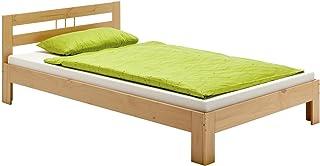 IDIMEX Lit Simple Theo 100 x 200 cm lit pour Enfant en pin Massif lasuré Couleur hêtre, avec tête de lit