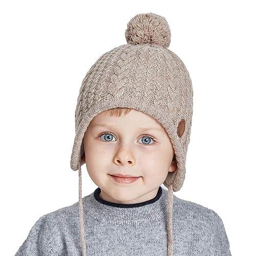 3238764926de17 SOMALER Toddler Kids Winter Ear Flap Beanie Hat Boy Girl Fur Pompom Knit  Hats