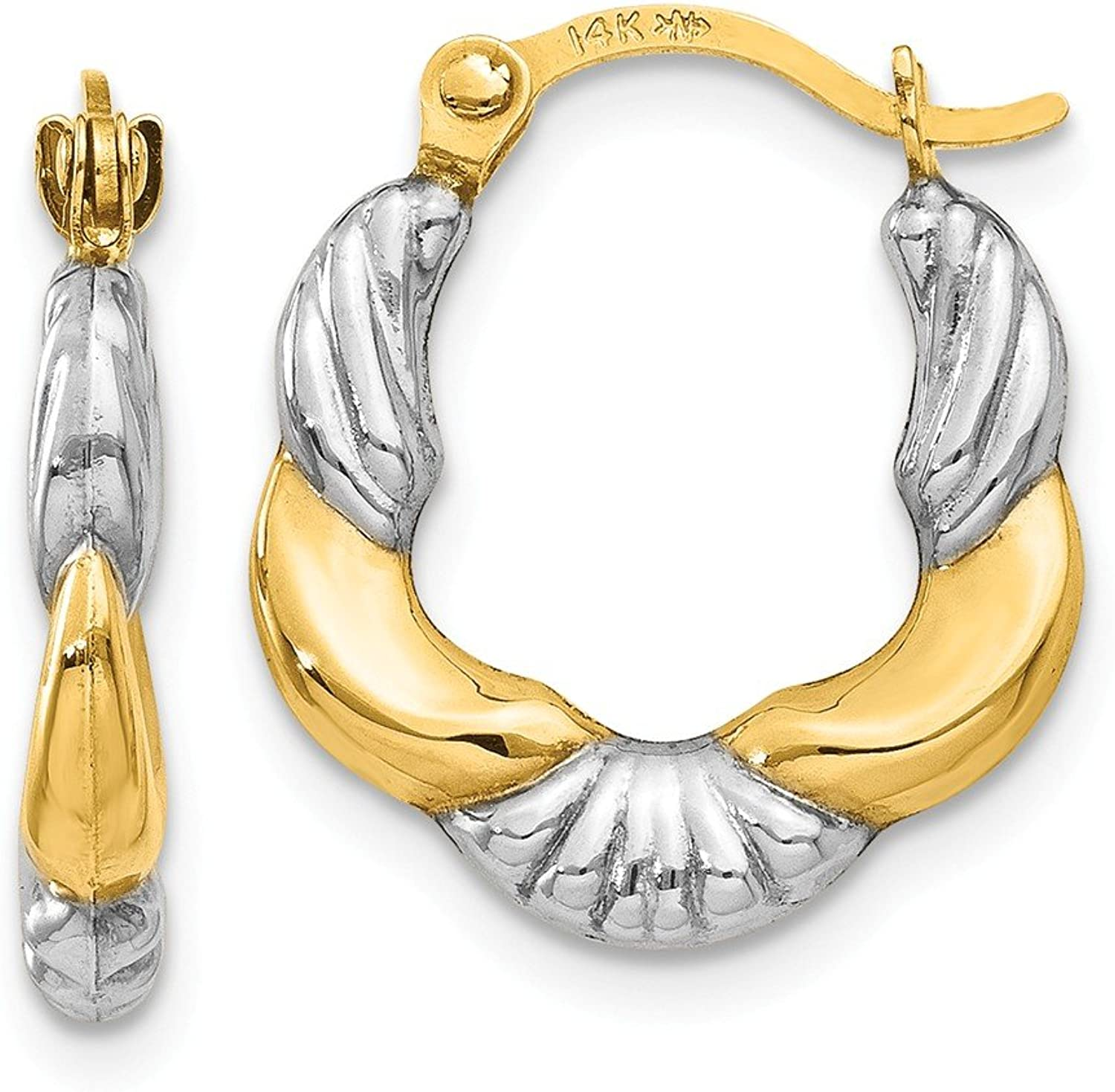 Beautiful rhodium plated gold and silver 14K rhodiumplatedgoldandsilver 14K & Rhodium Hollow Scalloped Hoop Earrings