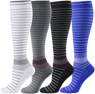 HLTPRO Compression Socks Women Men 20-30 mmHg - 1 to 6 Pairs Compression Stockings Best Running, Crossfit, Travel, Nurse, Maternity Pregnancy