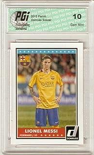 Lionel Messi 2015 Panini Donruss Barcelona Soccer Card #68 PGI 10 - Unsigned Soccer Cards