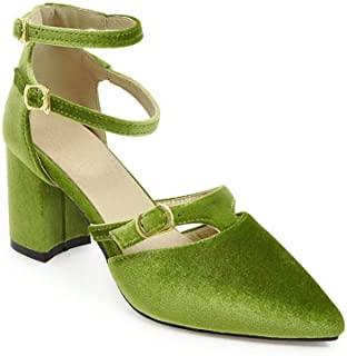 BalaMasa Womens ASL06477 Imitated Suede Block Heels