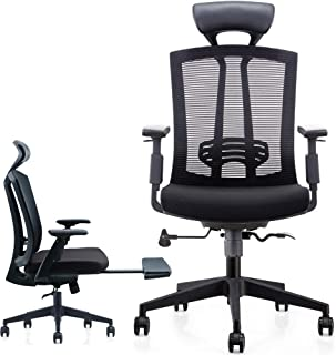 CUBOC High Back Mesh Executive Office Chair, Heavy Duty Ergonomic Reclining Swivel Chair with Lumbar Back Support, Adjustable Footrest, Leather Headrest and Armrests, Black