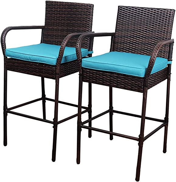 Sundale Outdoor 2 Pcs All Weather Patio Furniture Set Brown Wicker Barstool With Blue Cushions Back Support And Armrest