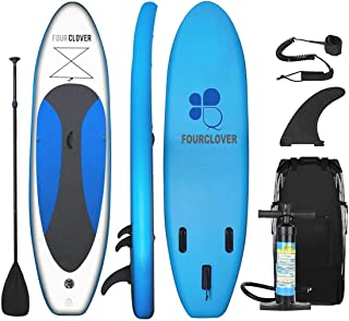 FOUR CLOVER Inflatable Stand Up Paddle Board Universal SUP 6 inches Thick, Wide Stance w/Bottom Fin for Paddling and Surf Control for Youth and Adult Surfing Water Sports