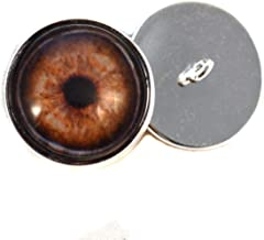 16mm Dark Brown Elephant Sew On Glass Eye Buttons with Loop for Crocheted Doll Stuffed Animal Soft Sculptures or Jewelry Making Crafts - Set of 2