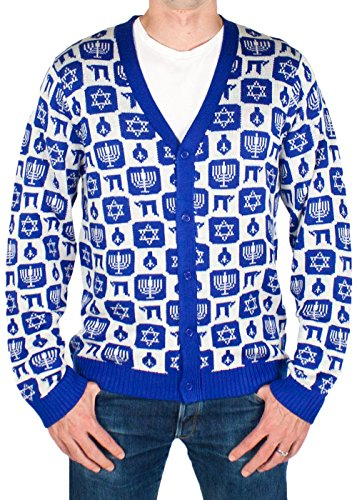 Festified Men's Classy Chanukah Cardigan Sweater (Navy) Ugly Holiday Sweater (Medium)