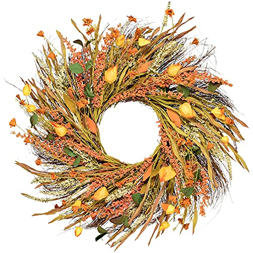 Artiflr 22 Inch Fall Wreath Decoration - Autumn Door Wreath Harvest Wreath with Artificial Wheat for Front Door Wall Wedding Thanksgiving Decoration