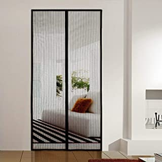 AMCER Magnetic Screen Door 29x94inch, Premium Magnet Curtain, Full Frame Seal, Easy to Install Without Drilling, for Living Room/Patio Door - Black