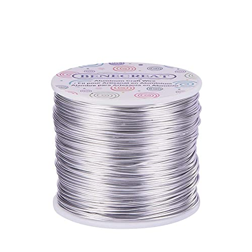 BENECREAT 18 Gauge(1mm) Aluminum Wire 492 FT(150m) Anodized Jewelry Craft Making Beading Floral Colored Aluminum Craft Wire - Silver