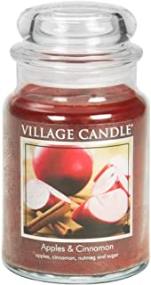 Village Candle Apples & Cinnamon Large Glass Apothecary Jar Scented Candle, 21.25 oz, Red